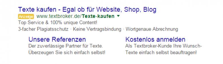 Google Anzeigen-Snippet zu Texte kaufen