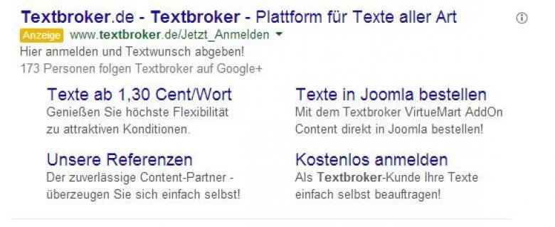 Adwords Anzeige, Keyword Textbroker