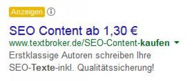 """Adwords Anzeige, Keyword """"Texte kaufen"""""""
