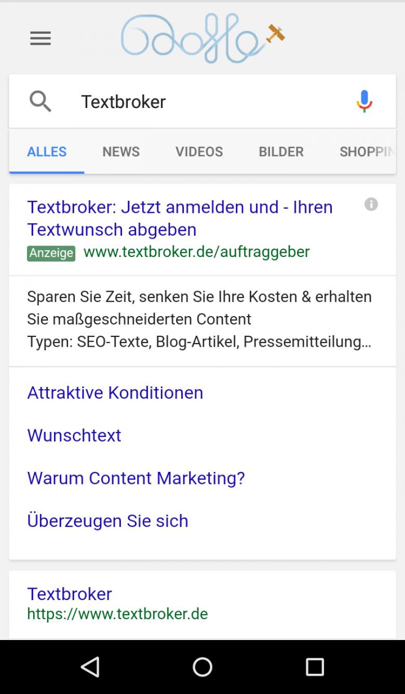 Smartphone-Display mit Google-Suche
