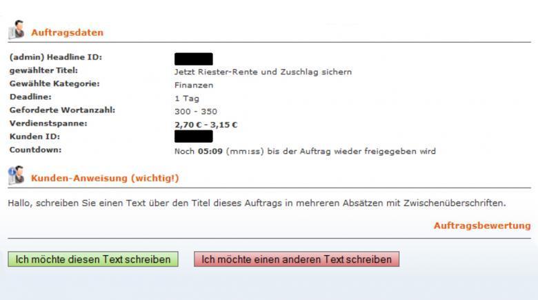 Screenshot Auftragsdaten mit Kunden-Anweisung