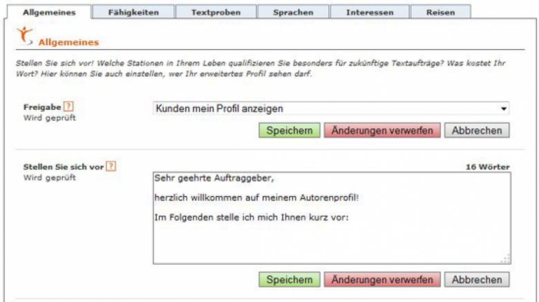 Eigenschaften des Textbroker-Autoren-Profils