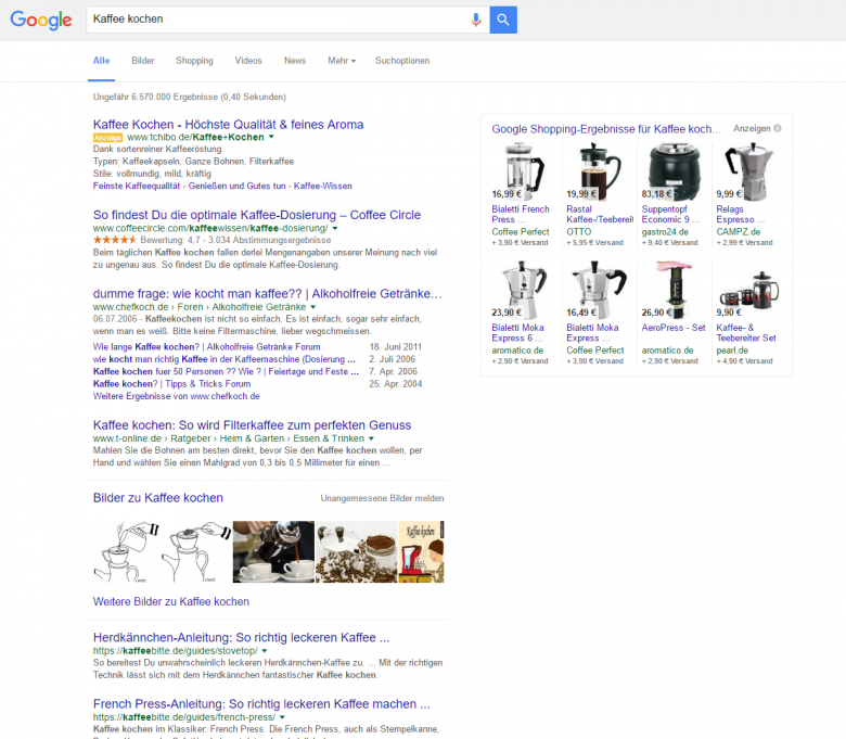Google SERP mit informationsgetriebenem Keyword