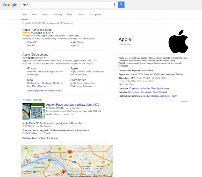 Google SERP mit navigationsgetriebenem Keyword