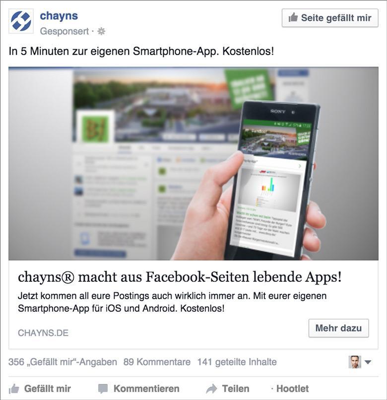 Facebook-Anzeige Chayns