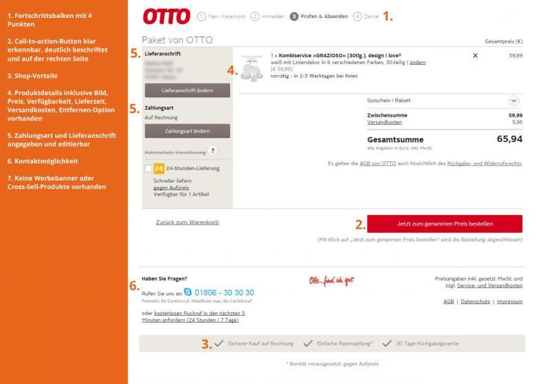 Bezahlseite bei otto.de