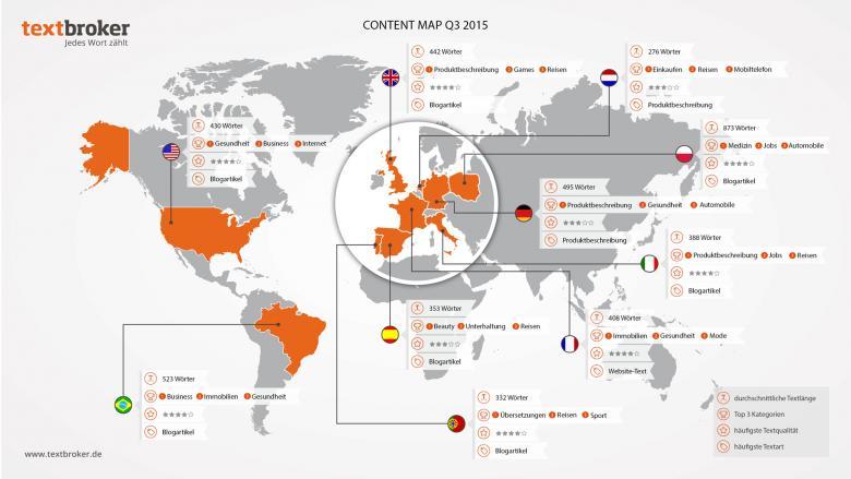 Weltkarte mit Content-Daten