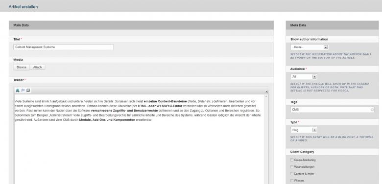 "Die ""Artikel-Erstellen-Funktion"" des Content Management Systems Drupal"