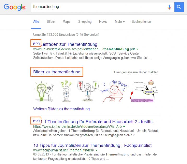 Google-Suchergebnisse für Begriff Themenfindung