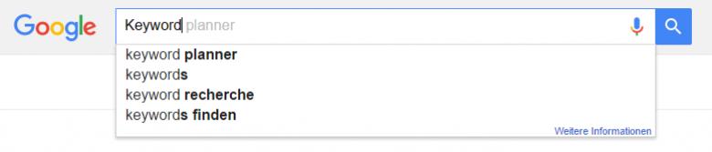 Google Suchvorschläge für Suchbegriff Keyword