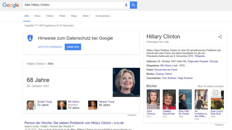 Google Suchergebnis zu Alter Hollary Clinton