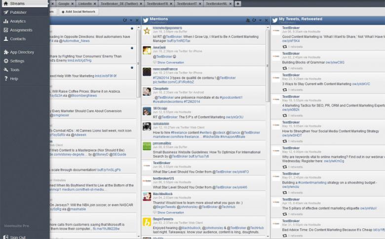 """Oberfläche des Social-Media-Planungs-Tools """"hootsuite"""""""