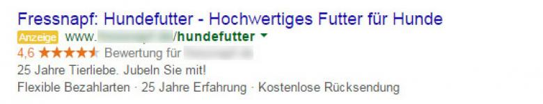 GoogleAd zu Hundefutter
