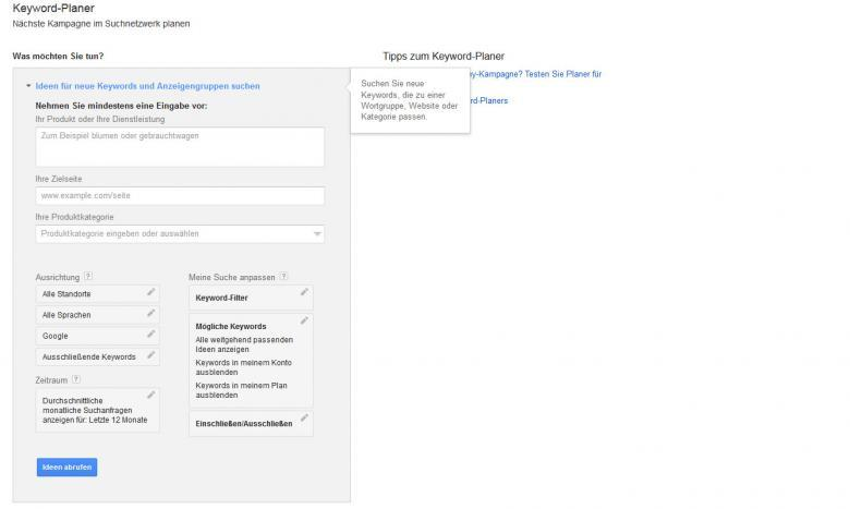 Google Keyword Planer, Google Webmaster Tools