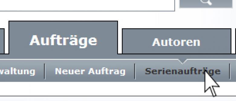 Ausschnitt aus Textbroker Navigation - Serienaufträge