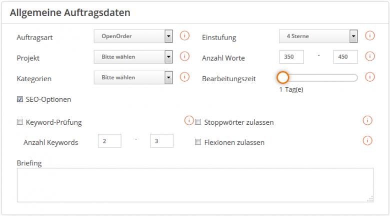 Eingabemenü für SEO-Optionen bei Textbroker