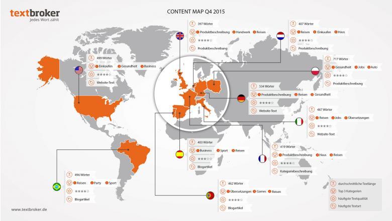 Weltkarte mit Informationen rund um Content