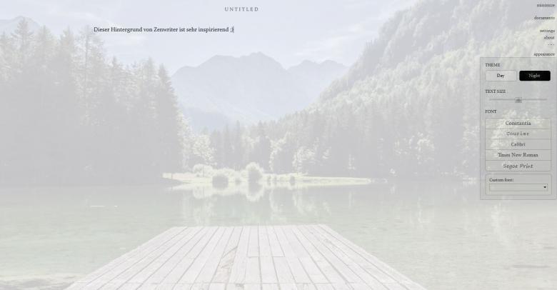 Landschaft in Zenwriter
