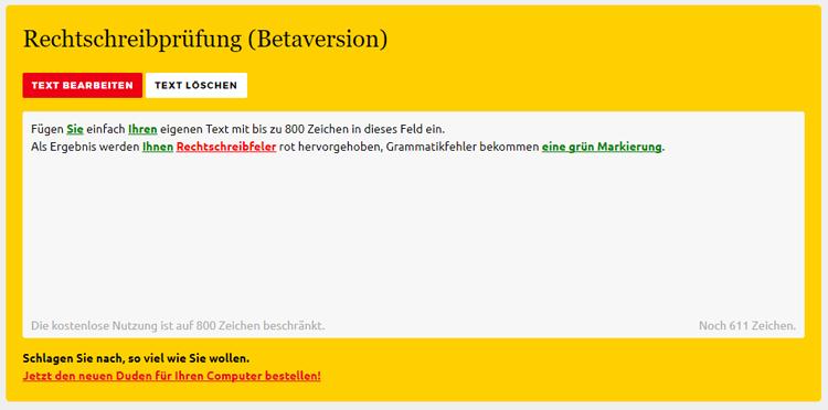 Screenshot der Duden-Rechtschreibprüfung Online