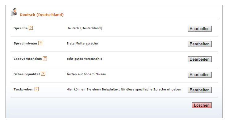 Autorenprofil ausfüllen Beitragsbild 2: Sprachansicht des Profils.