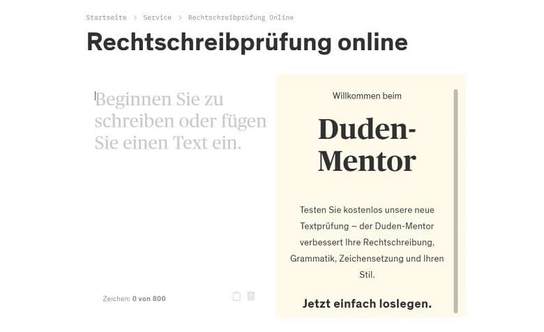 Screenshot des Duden-Mentors, Autorentool für die Rechtschreibprüfung