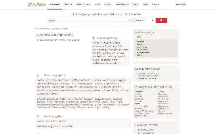 Screenshot von Woxikon, einem Autorentool zur Suche von Synonymen