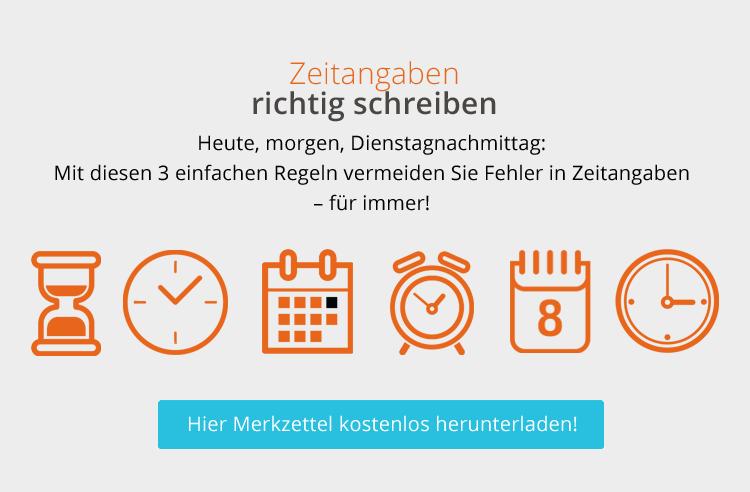 Grafik zum Thema Zeitangaben richtig schreiben, die verschiedene Uhren und Kalender zeigt.