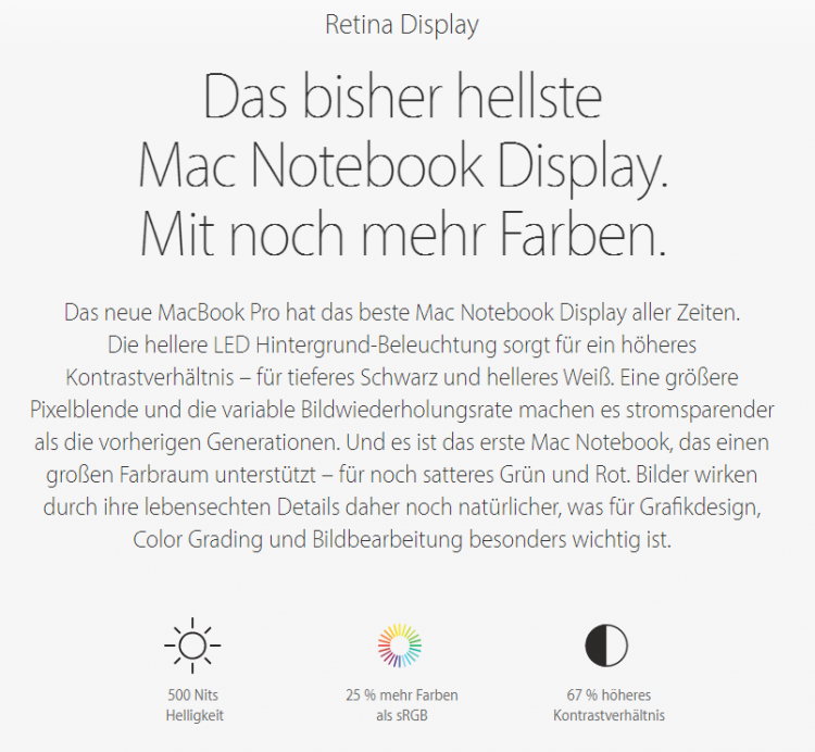 Feature-Absatz auf Apple-Landingpage
