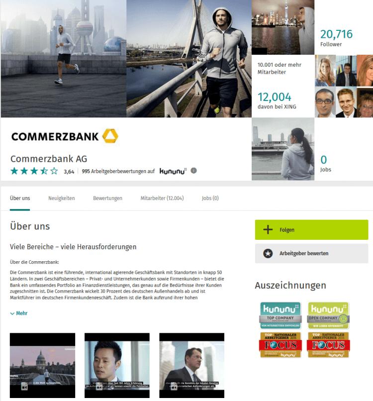Auftritt der Commerzbank auf XING