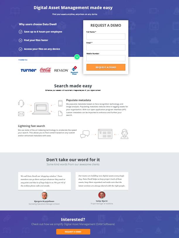 Landingpage von DataDwell
