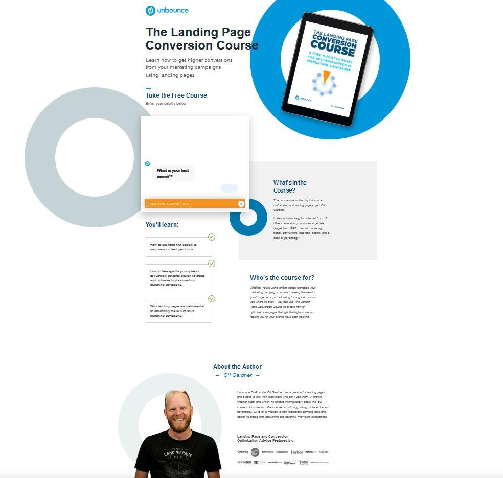 Kurse zum Thema Conversion per Landingpage von Unbounce