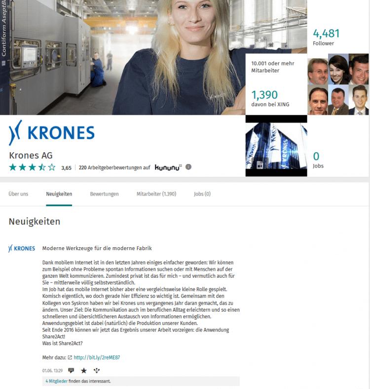 Auftritt der Krones AG auf XING