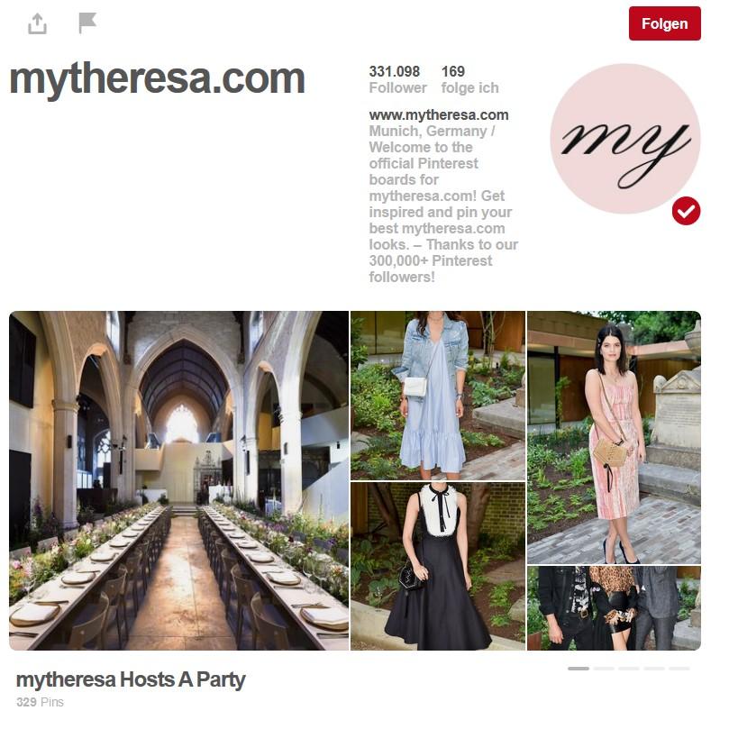 Pinterest-Präsenz mytheresa