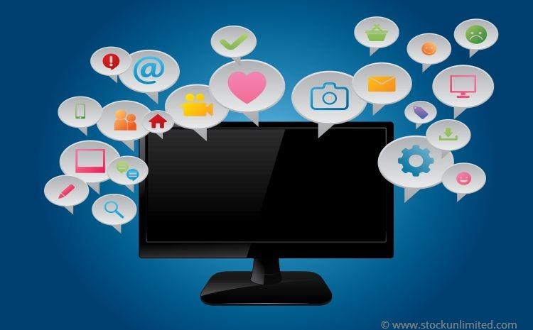 Monitor mit Content-Sprechblasen