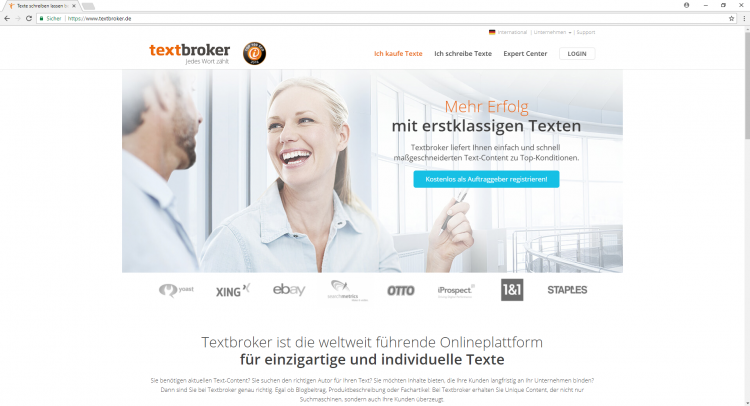 Textbroker-Website Above the fold