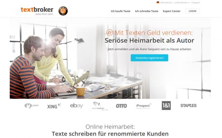 Textbroker-Landingpage