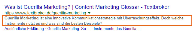 SERP-Snippet mit Meta Description