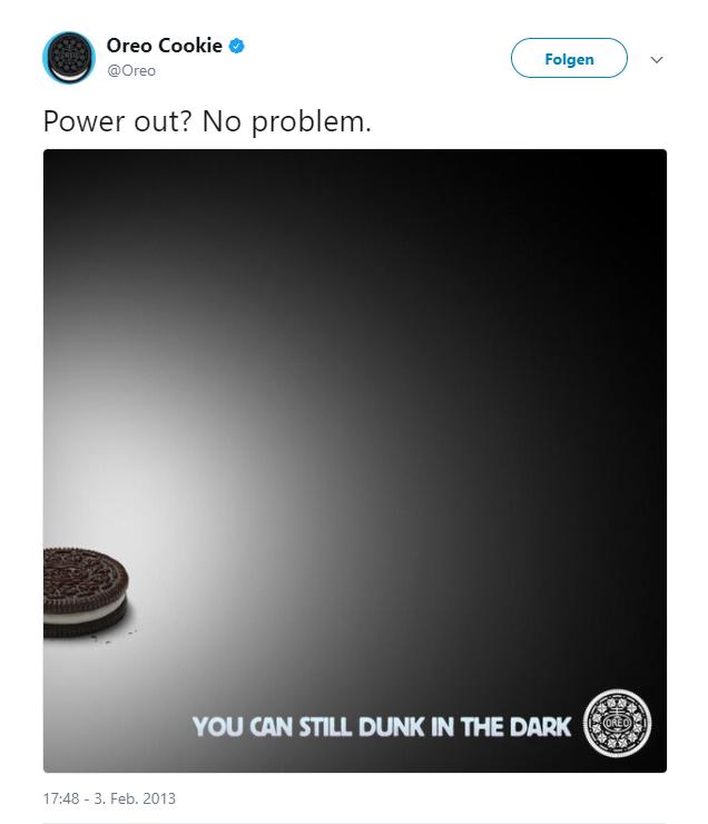 Anzeige von Oreo zum Newsjacking