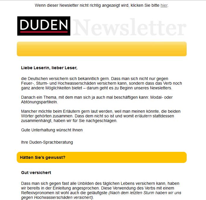 Newsletter der Duden-Sprachberatung