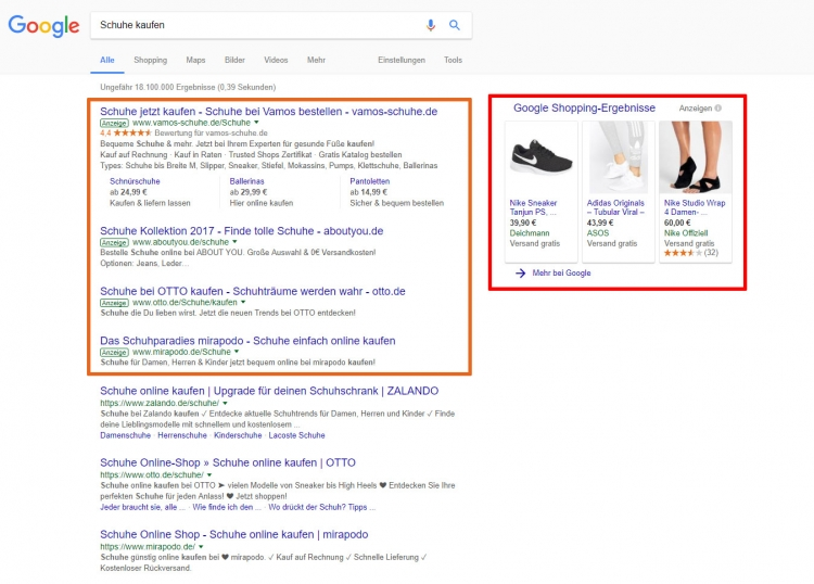 Suchergebnis mit SEA-Anzeigen