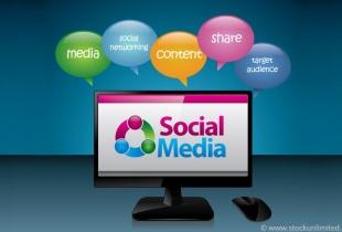 PC-Screen mit Aufschrift Social Media