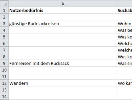 Excel-Tabelle mit Keywords