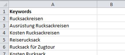 Excel-Liste mit Keywords