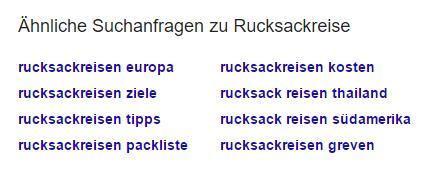Liste von Related Keywords aus Google SERP