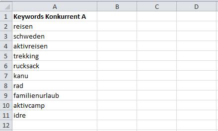 Excel-Tabelle mit Keywords aus Konkurrenzanalyse