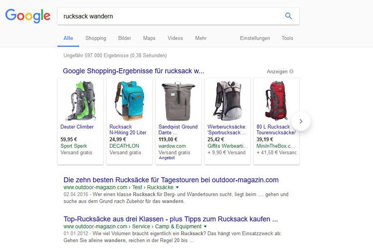 """SERP für Keyword """"rucksack wandern"""""""