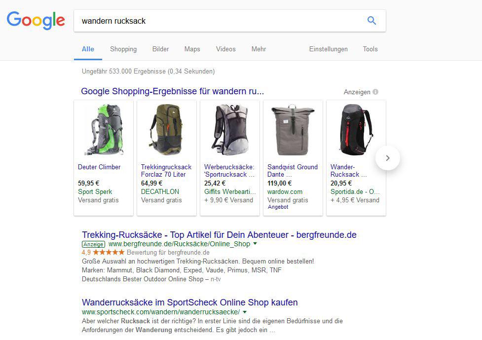 """Suchergebnis für """"wandern rucksack"""""""