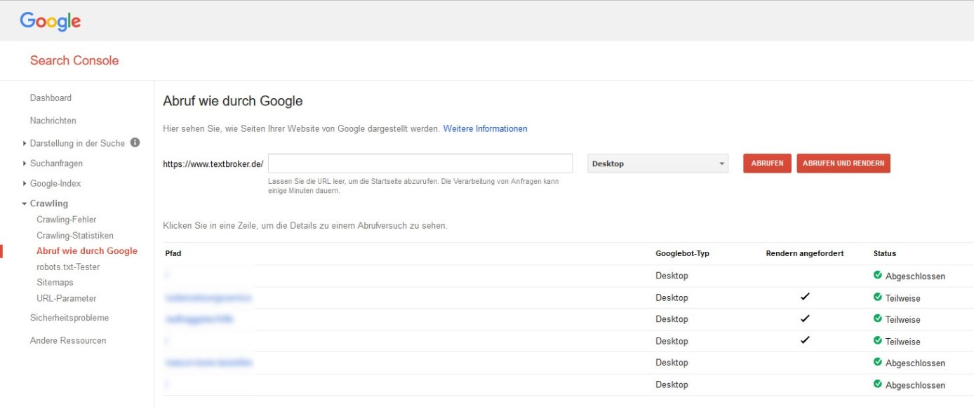 Ausschnitt aus der Google Search Console