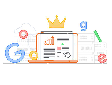 Laptop-Grafik mit Google-Schriftzug