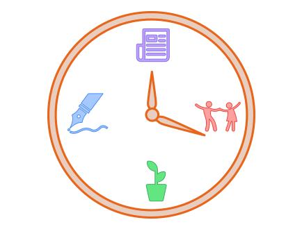 Uhr mit Aktivitäten